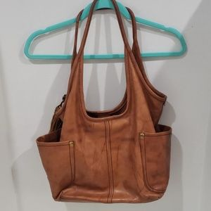 Distressed leather frye purse